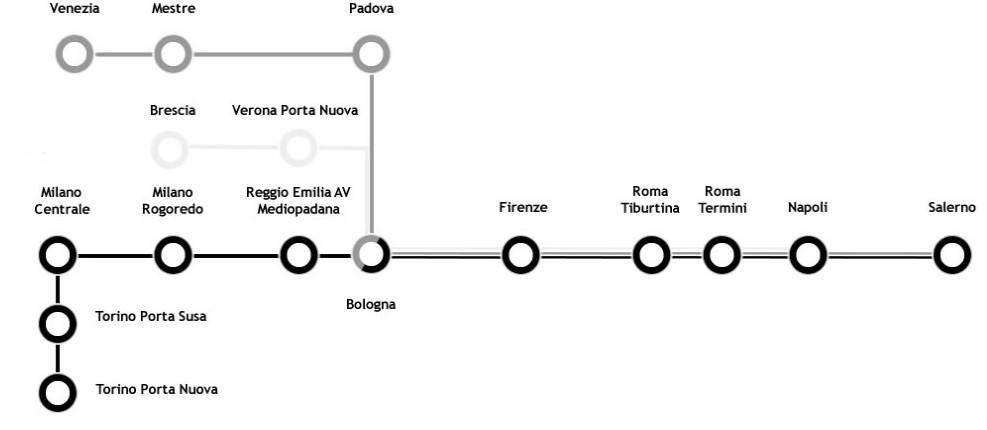 Карта маршрутов italotreno